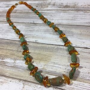 Jewelry - Turquoise & amber natural gemstone necklace